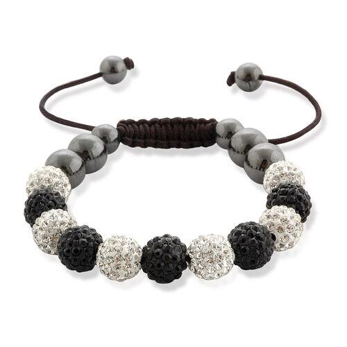 Shamballa Friendship Eleven Black & White Austrian Crystal, Hematite Bracelet (Adjustable)  60.002  Ct.