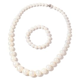 Graduated White Shell Pearl Necklace (Size 20) with Rhodium Plated Sterling Silver Magnetic Lock and Stretchable Bracelet (Size 7.5)