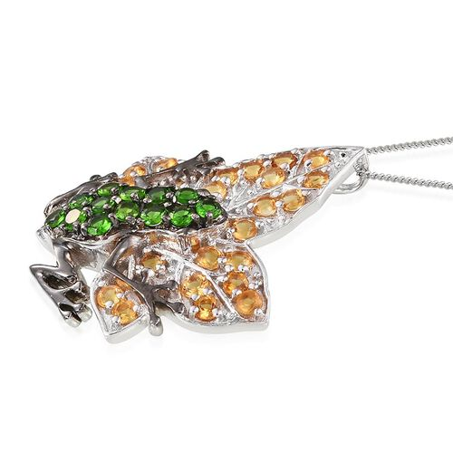 GP Russian Diopside (Rnd), Citrine and Kanchanaburi Blue Sapphire Frog on Leaf Pendant With Chain in Platinum Overlay Sterling Silver 2.250 Ct.