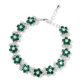 AAA Green Austrian Crystal and Simulated Diamond Floral Bracelet (Size 7.5 with 1 inch Extender) in Silver Tone