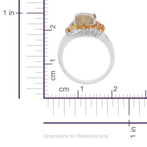 Aurelia Rutilated Quartz (Oct 2.25 Ct), Citrine Ring in Platinum Overlay Sterling Silver 3.000 Ct.