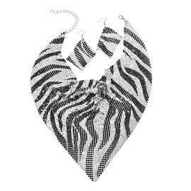 Glittering Silver and Black Colour Zebra Pattern Collar Necklace (Size 20 with 2 inch Extender) and Hook Earrings in Silver Tone