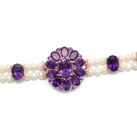 Lusaka Amethyst (Ovl), Fresh Water Pearl Bracelet (Size 7.5) in Rose Gold Overlay Sterling Silver 36.500 Ct. Silver wt. 14.00 Gms.