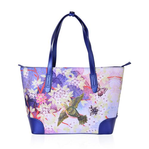 Limited Edition- Beauty East Bird, Butterfly and Flower Pattern Water Resistant Tote Bag (Size 44X34X26X14.5 Cm)