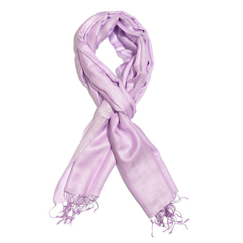 Close Out Deal- 55% Silk Light Purple Colour Scarf with Fringes (Size 200x70 Cm)