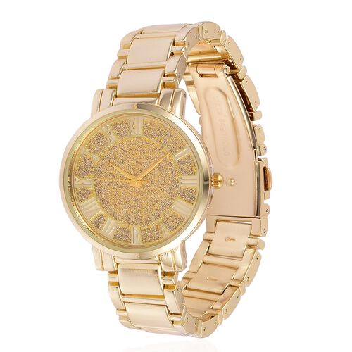 STRADA Japanese Movement Stardust Dial Water Resistant Watch in Gold Tone with Stainless Steel Back