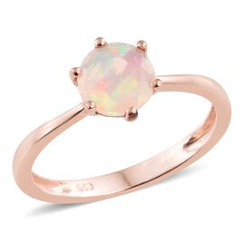 Ethiopian Welo Opal 1 Carat Silver Solitaire Ring in Rose Gold Overlay