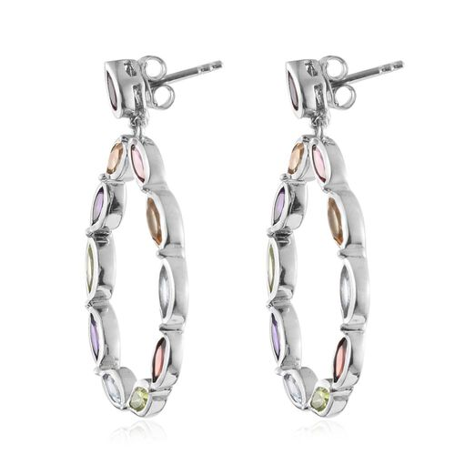 Rhodolite Garnet (Mrq), Mozambique Garnet, Sky Blue Topaz, Hebei Peridot, Citrine and Amethyst Earrings (with Push Back) in Platinum Overlay Sterling Silver 5.535 Ct. Silver wt 7.77 Gms.