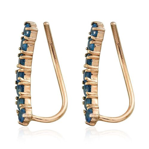 Malgache Neon Apatite (Rnd) Climber Earrings in 14K Gold Overlay Sterling Silver 1.500 Ct.