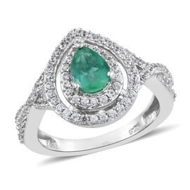 Limited Edition- AAA Premium Santa Terezinha Emerald (Pear), Natural Cambodian Zircon Ring in Platinum Overlay Sterling Silver 1.250 Ct.