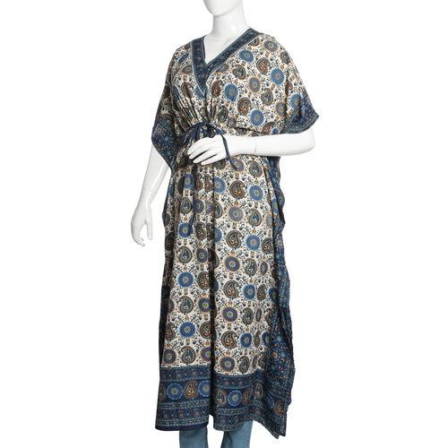 Designer Inspired - Navy Blue, White and Multi Colour Paisley and Floral Printed Longline Kaftan (Free Size)