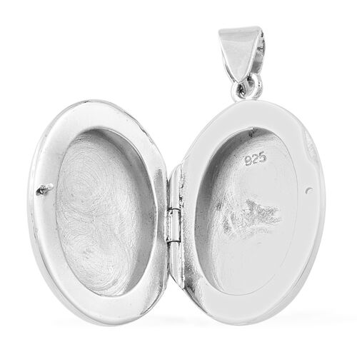 Designer Inspired - Sterling Silver Checks Pattern Engraved Oval Locket Pendant, Silver wt. 5.19 Gms.