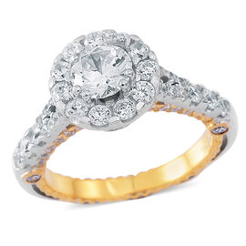 Fashion Statement Collection-ELANZA AAA Simulated White Diamond (Rnd) Ring in Rhodium and Yellow Gold Overlay Sterling Silver, Silver wt 6.23 Gms.