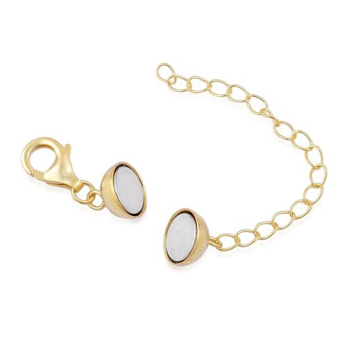 Yellow Gold Overlay Sterling Silver Magnetic Ball Clasp with 2 Inch Extender