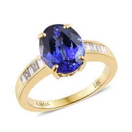 ILIANA 18K Y Gold AAA Tanzanite (Ovl 3.75 Ct), Diamond (SI/G-H) Ring 4.000 Ct.
