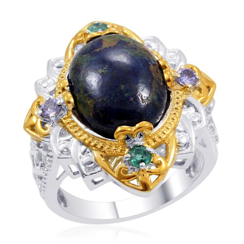 Designer Collection Azurite (Ovl 7.86 Ct), Tanzanite and Kagem Zambian Emerald Ring in 14K YG and Platinum Overlay Sterling Silver 8.060 Ct.