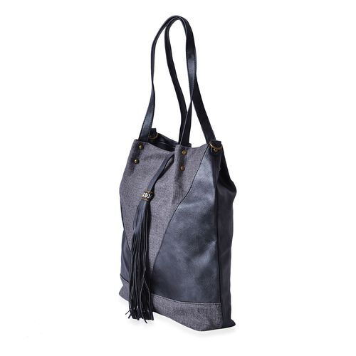 Black and Grey Colour Bucket Bag with Tassel (Size 38x30.5x8 Cm)