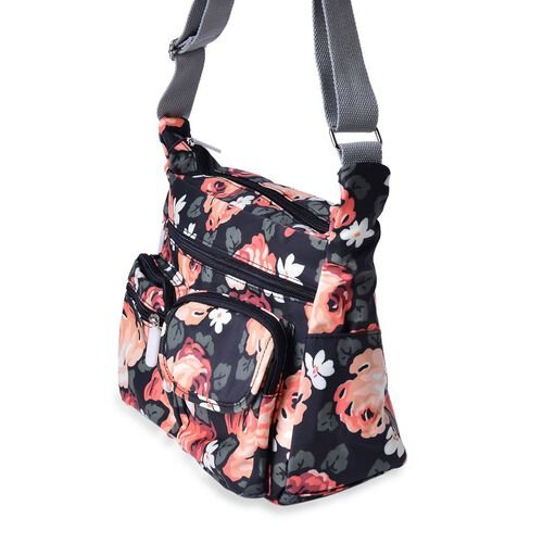 Designer Inspired Multi Colour Floral Printed Black Colour Handbag with External Zipper Pocket and Adjustable Shoulder Strap (Size 33x11x24 Cm)