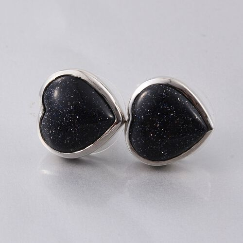 Blue Sandstone (Hrt) Stud Earrings (with Push Back) in Platinum Overlay Sterling Silver
