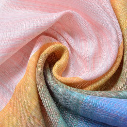 Light Pink, Blue and Multi Colour Stripes Pattern Scarf with Fringes (Size 180X90 Cm)