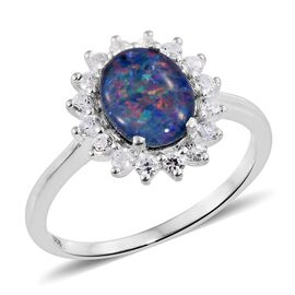 Rare AAA Australian Boulder Opal (Ovl 10X8 1.70 Ct), Natural White Cambodian Zircon Ring in Sterling Silver 2.500 Ct.