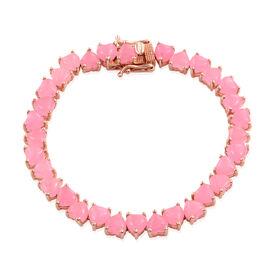 Pink Jade (Hrt) Bracelet (Size 7.5) in Rose Gold Overlay Sterling Silver 32.750 Ct.