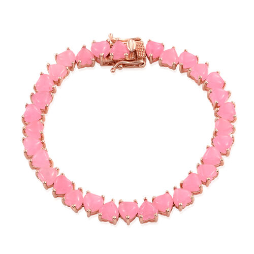 Pink Jade (Hrt) Bracelet (Size 7.5) in Rose Gold Overlay Sterling Silver 32.750 Ct.