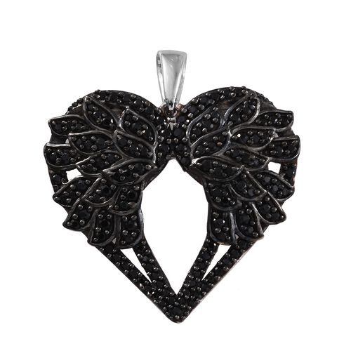 Boi Ploi Black Spinel (Rnd) Pendant in Platinum Overlay Sterling Silver 1.500 Ct.