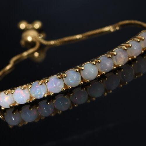 Ethiopian Welo Opal (Rnd) Adjustable Bracelet (Size 6.5-7.5) in 14K Gold Overlay Sterling Silver 1.750 Ct.