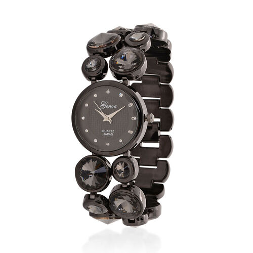 GENOA Japanese Movement Black Dial White Austrian Crystal Water Resistant Watch in Black Tone Strap with Grey Glass