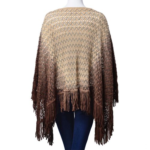 Light and Deep Chocolate Colour Poncho (Size 100x55 Cm)