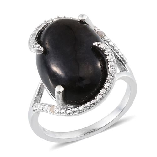 Black Jade (Ovl 12.75 Ct), Diamond Ring in Platinum Overlay Sterling Silver 12.770 Ct.