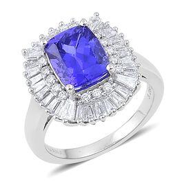 ILIANA 18K White Gold 4.26 Ct AAA Tanzanite Halo Ring with SI G-H Diamond
