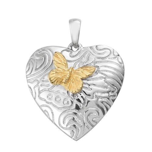 Designer Inspired- Vicenza Collection Platinum and Yellow Gold Overlay Sterling Silver Butterfly on Heart Pendant, Silver Wt. 5.18 Gms.