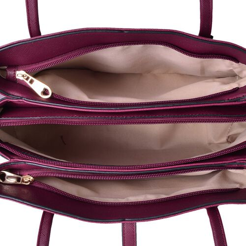 Dark Fuchsia Colour Tote Bag (Size 35.5x23.5x13 Cm)