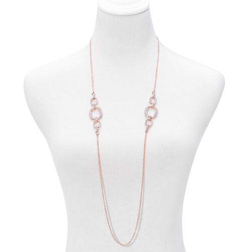 AAA White Austrian Crystal Necklace (Size 38), Bracelet (Size 7.50) and Earrings in Rose Gold Tone