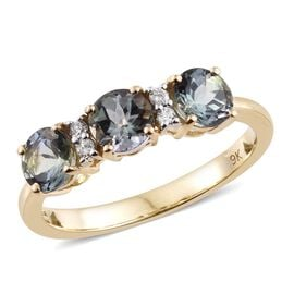 9K Yellow Gold 1.75 Ct AA Green Tanzanite Ring with Diamond