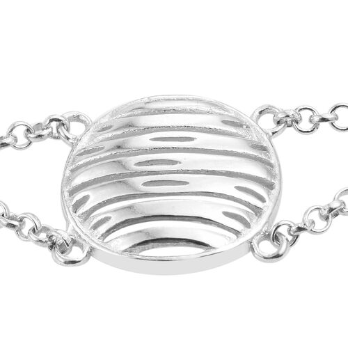 Vicenza Collection-Rhodium Plated Sterling Silver Belcher Bracelet (Size 7.5 with 1.5 inch Extender), Silver wt. 4.09 Gms.