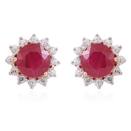 Limited Edition- 9K Y Gold AA African Ruby (Rnd), Natural White Cambodian Zircon Floral Stud Earrings (with Push Back) 5.000 Ct.