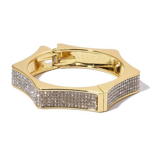 Designer Inspired- AAA White Austrian Crystal Bangle (Size 7.5) in Yellow Gold Tone