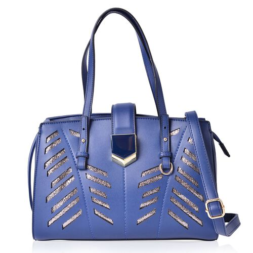 London Blue Metallic City Tote Bag with External Pocket and Adjustable Shoulder Strap (Size 34x24.5x13 Cm)
