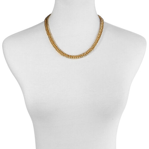 Yellow Gold Plated and Stainless Steel Curb Necklace (Size 18)