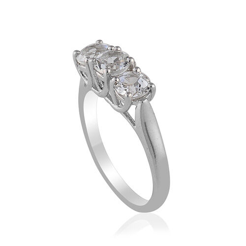 Brazilian Goshenite (1.25 Ct) Platinum Overlay Sterling Silver Ring  1.250  Ct.