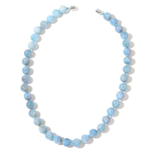 Rare AAA Espirito Santo Aquamarine Beads Necklace (Size 19) with Magnetic Clasp in Rhodium Plated Sterling Silver 350.000 Ct.