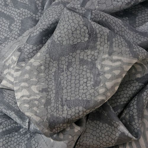 100% Mulberry Silk Grey and White Colour Printed Scarf (Size 175x110 Cm)