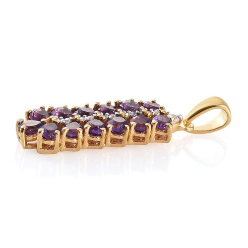 2 Ct Amethyst, Natural Cambodian Zircon Sterling Silver Pendant in 14K Gold Overlay