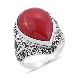 Royal Bali Collection Coral (Pear) Ring in Sterling Silver 16.060 Ct, Silver wt 6.40 Gms.