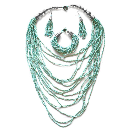 Simulated Turquoise Bead Necklace (Size 22), Bracelet (Size 8.5) and Hook Earrings in Silver Tone