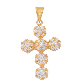ELANZA AAA Simulated White Diamond (Rnd) Cross Pendant in 14K Gold Overlay Sterling Silver