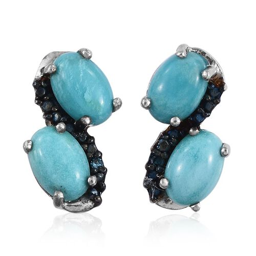 Kingman Turquoise (Ovl), Blue Diamond Earrings (with Push Back) in Platinum Overlay Sterling Silver 1.760 Ct.